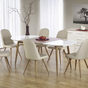 Set-masa-MDF-Edward-White-Honey-oak-6-scaune-K214