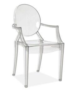 Scaun policarbonat transparent cu brate Luis - H 92 cm