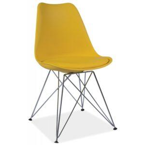 scaun-din-metal-tapitat-tim-galben