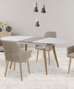 Set-masa-MDF-Caliber-4-scaune-K287-Beige