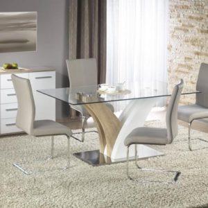 Set-masa-din-MDF-si-sticla-Vilmer-4-scaune-K219