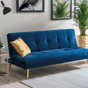 Canapea extensibila Moritz Velvet Bleumarin