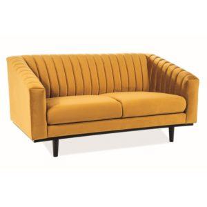 canapea galbena din catifea si lemn Asprey