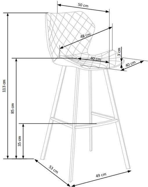 Scaun bar H-83 gri_alb 2