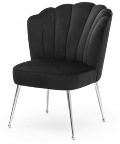 Scaun Bolonia velvet negru/silver – H90