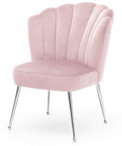 Scaun Bolonia velvet roz/silver – H90