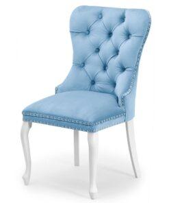 Scaun tapitat Madame Charlotte albastru deschis/alb