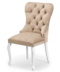 Scaun tapitat Madame Charlotte bej/alb