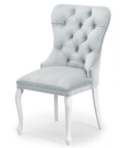 Scaun tapitat Madame Charlotte gri deschis/alb