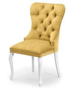 Scaun tapitat Madame Charlotte galben/alb