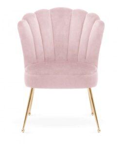 Scaun Bolonia velvet roz/gold - H90