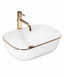Lavoar Belinda Alb Gold Edge ceramica sanitara