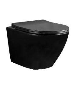 Vas wc Carlo Mini Rimless suspendat cu capac slim softclose negru