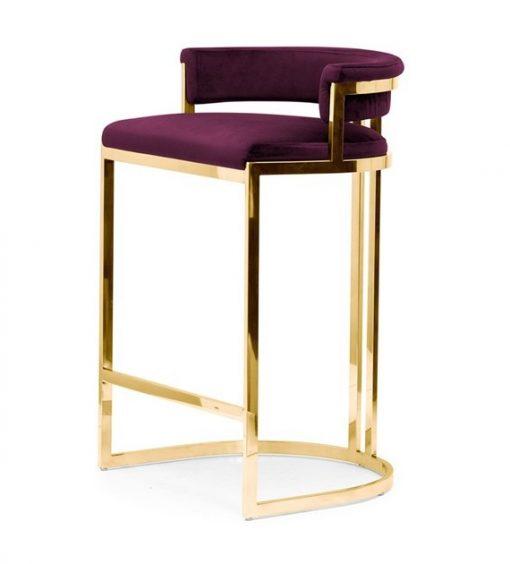 Scaun de bar tapitat Vegas burgundy/gold