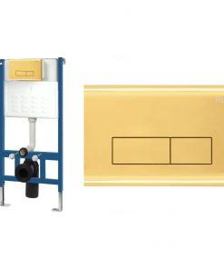 Set cu rezervor incastrat WC cu clapeta actionare H Light Gold