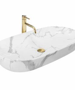 Lavoar Cleo Alb Shiny marble ceramica sanitara