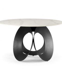 Masa rotunda Parma marmura alba/picior negru