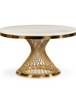 Masa rotunda Romance marmura alba/picior gold