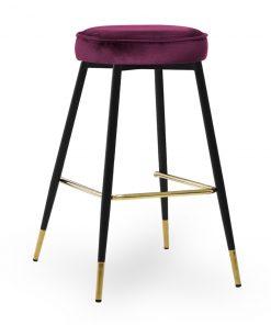 Scaun de bar Circo burgundy picioare negru/gold