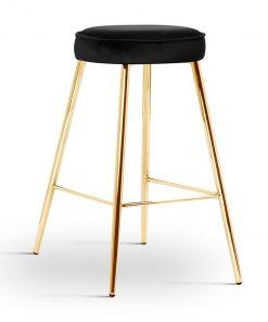 Scaun de bar Circo negru picioare gold
