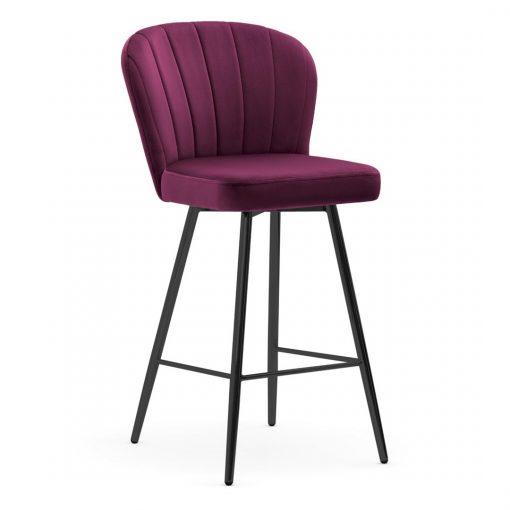Scaun de bar Shelly burgundy picioare negru