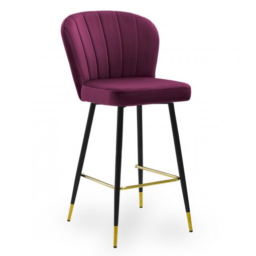 Scaun de bar Shelly burgundy picioare negru/gold