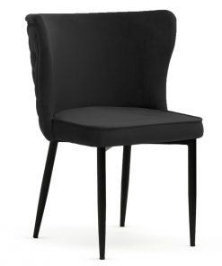 Scaun tapitat Modena negru picioare negre